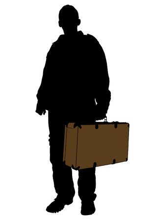 whit: Man whit travel big suitcases on white background