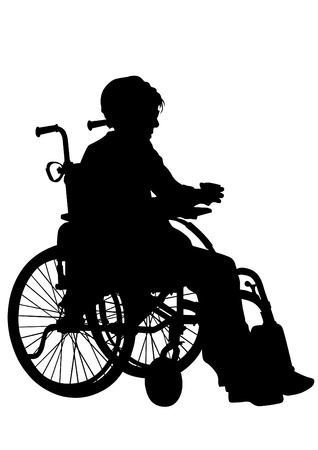 lame: Silhouettes wheelchair and women on white background