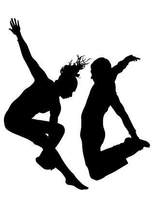silueta humana: Bailarina en traje de teatro sobre un fondo blanco
