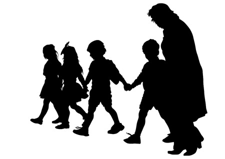 childs: Silhouette of a mother and childs on the walk