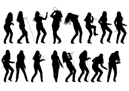 hip hop silhouette: Beautiful women whit microphon on white background Illustration