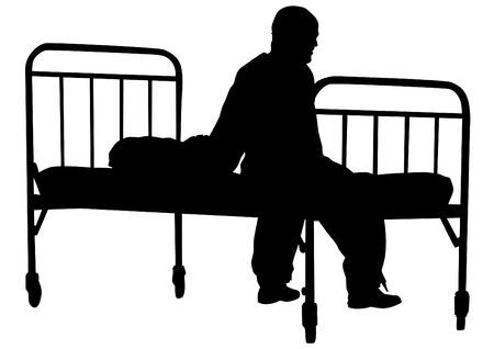 enfermos: Silueta del hombre enfermo en pijama cerca de la cama