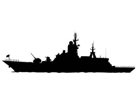 Silhouette of a large warship on a white background Ilustração