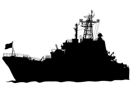 la union hace la fuerza: Silueta de un gran buque de guerra sobre un fondo blanco