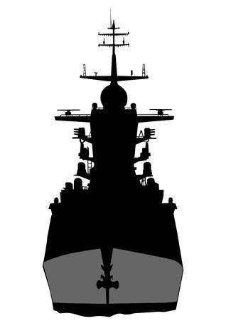 Silhouette of a large warship on a white background Illustration