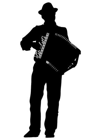 acordeón: Hombre de la música de la pizca de acordeón en el fondo blanco