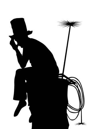 sweep: Chimney sweep on pipe with tools on a white background