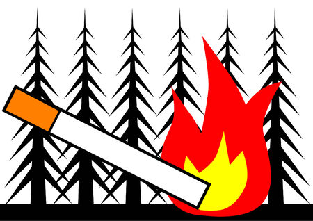ciggy: Cigarette and fire in a forest Illustration