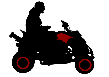 motorized sport: Silhouettes athletes on quad on white background