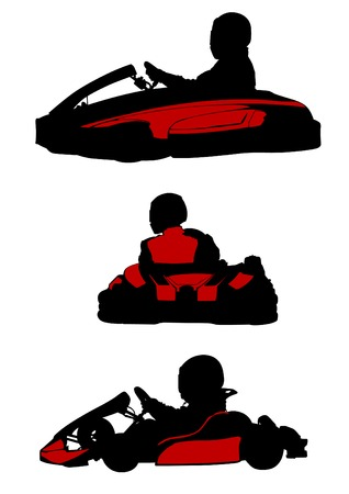 sillhouette: Sillhouette sport cart on white background