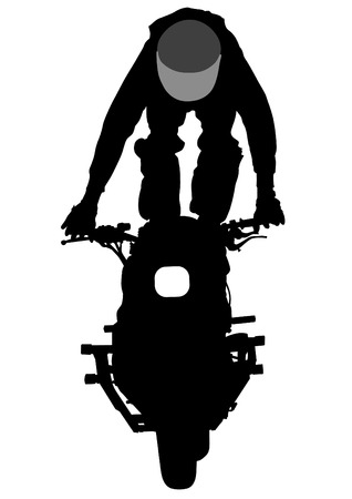leather pants: Motorcyclist performed extreme stunts on a white background Illustration