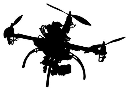 airborne: Quadrocopter with photo equipment on a white background