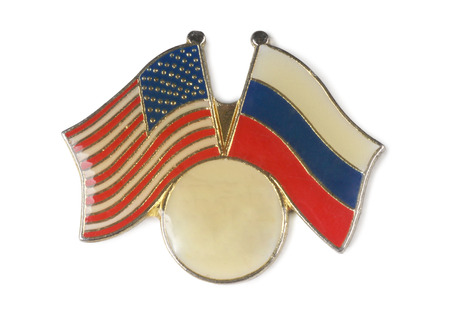 superpowers: Metal badge with the American and Russian flags