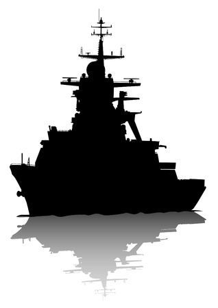 Silhouette of a large warship on a white background Иллюстрация
