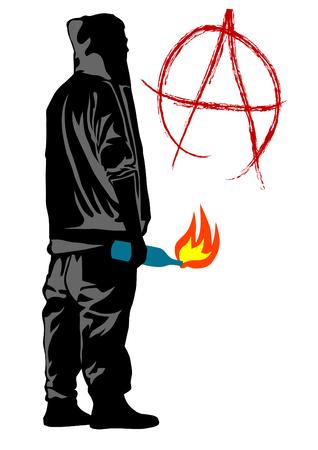 white bacground: Pueblo de anarchia con c�ctel molotov en fundamento blanco