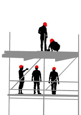 Worker in helmet at construction site on a white background