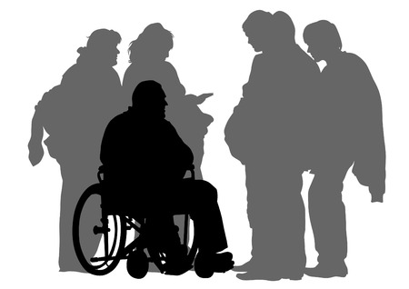 Elderly people with wheelchair on white background Illustration