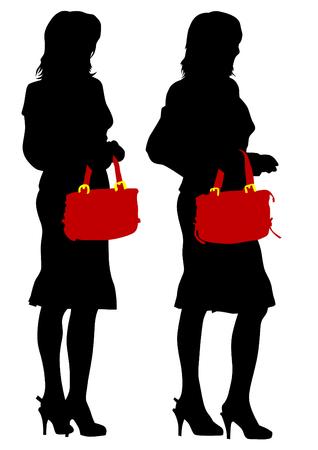 clothed: Giovani donne in borsa briciolo abito su sfondo bianco Vettoriali