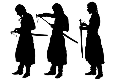 cossack: Silhouette of a Cossack with a saber on a white background