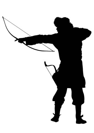 mongol: Silhouette of Mongol warrior with a bow on a white background Illustration