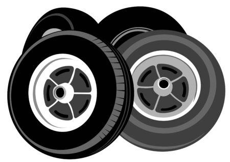 haltbarkeit: Gro�e Reifen f�r das Auto auf einem wei�en Hintergrund