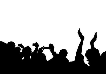 concert audience: Crowd in front of the stage on a white background Illustration