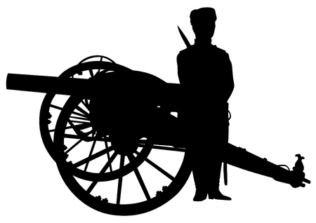 gunnery: Silhouette of antique guns and a soldier on a white background