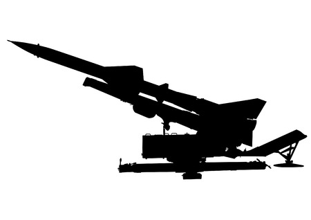 anti aircraft missiles: Missile anti-aircraft gun on a white background
