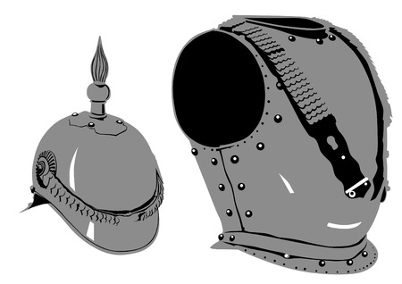 brave of sport: Retro iron armor on white background