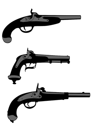 antique pistols: Silhouettes of old gun on the white background Illustration