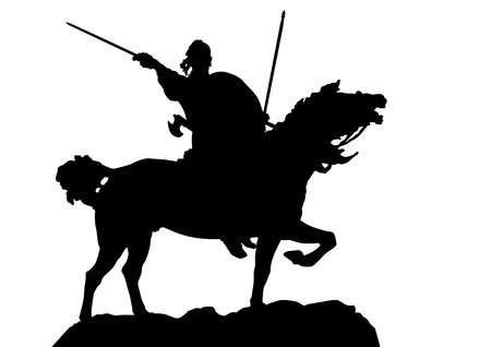Retro knight and horse on white background Vector