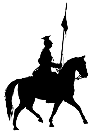 cavalier: Retro knight and horse on white background