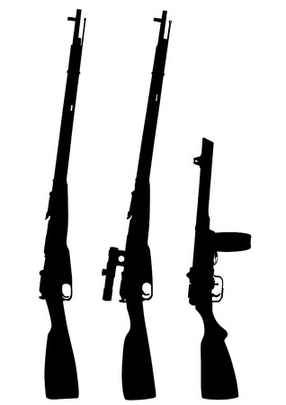 Modern automatic weapons on a white background Illustration