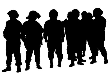 dispersal: People of special police force on white background