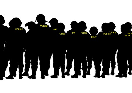 force: People of special police force on white background
