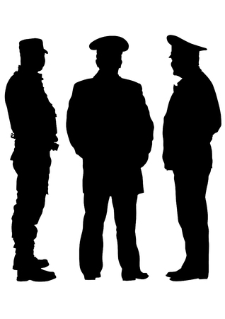 army men: People of special police force on white background