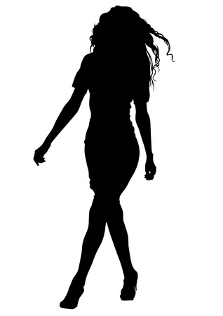 silhouette of women: Beautiful young girl on white background