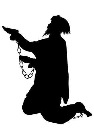 waiting convict: Silhouette of poor man in chains on a white background Illustration