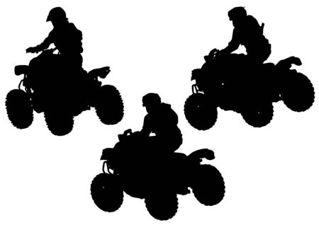 quad: Silhouettes athletes on quad on white background