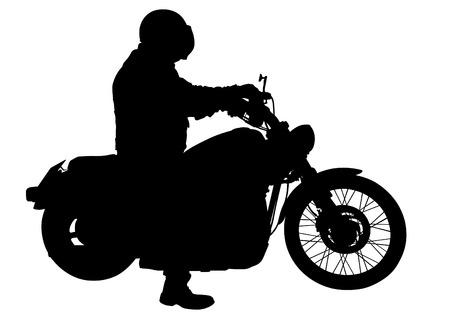 motociclista: Motociclista en ropa deportiva en el fondo blanco