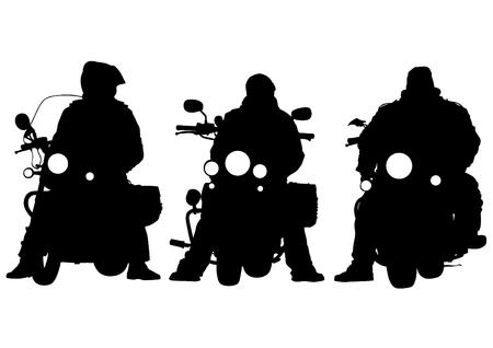 motorcyclist: Motorcyclist in sportswear on white background Illustration