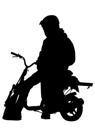 ropa deportiva: Motociclista en ropa deportiva en el fondo blanco