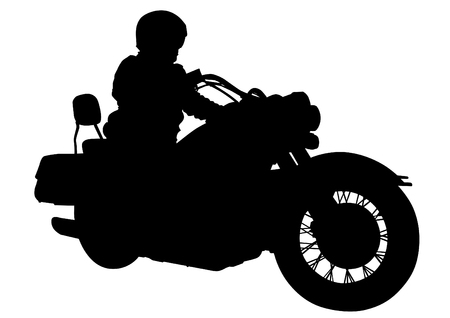 motorcyclist: Motorcyclist in sportswear on white background Illustration