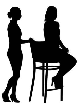 beauty women: Pareja de mujeres de la belleza en juego en el fondo blanco