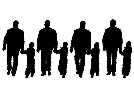 male bonding: Silhouette father and son on white background