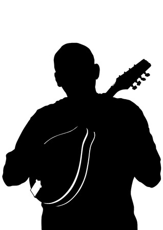 bluegrass: Man whit mandolin in country style on white background Illustration