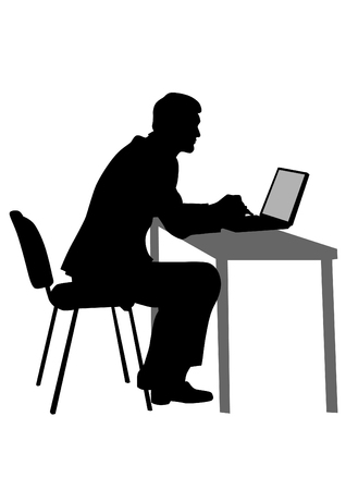to the secretary: Businessman at his desk with a computer on a white background Illustration