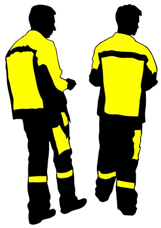 Construction workers in uniform on a white background