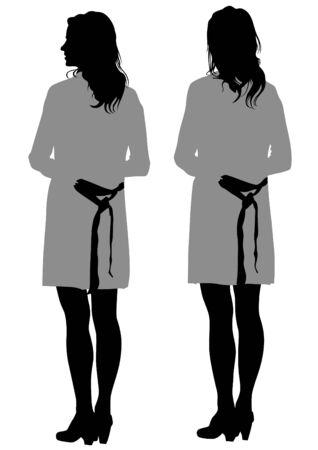 ragazza giovane bella: Bella ragazza su sfondo bianco Vettoriali