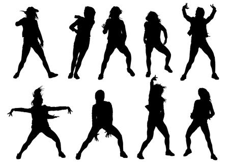 hip hop silhouette: Danser girl in rap style on white background